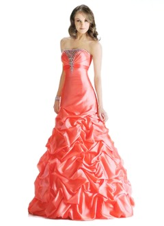 Ball-Gown Strapless Floor-Length Taffeta Prom Dress With Ruffle Beading