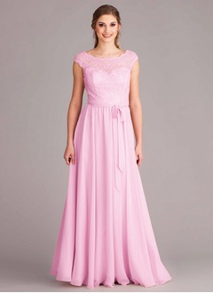 A-Line/Princess Scoop Neck Floor-Length Chiffon Bridesmaid Dress With Lace