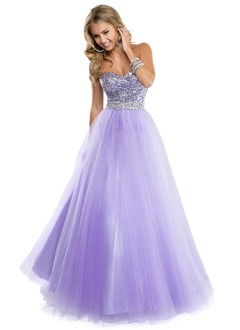 Ball-Gown Strapless Sweetheart Floor-Length Tulle Sequined Prom Dress With Ruffle Beading