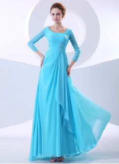 A-Line/Princess Sweep Train Chiffon Mother of the Bride Dress With Ruffle Beading Cascading Ruffles