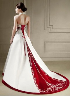 A-Line/Princess Halter Chapel Train Satin Wedding Dress With Sash Beading Sequins