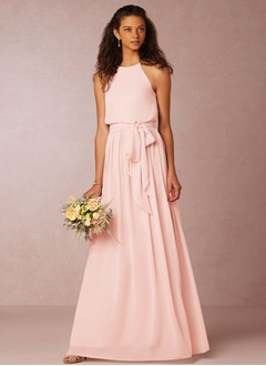 A-Line/Princess Scoop Neck Floor-Length Chiffon Bridesmaid Dress (0075091891)