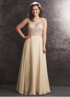 A-Line/Princess Sweetheart Scoop Neck Floor-Length Chiffon Prom Dress With Beading