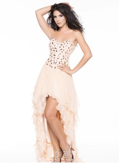 A-Line/Princess Strapless Sweetheart Asymmetrical Chiffon Charmeuse Prom Dress With Beading Cascading Ruffles