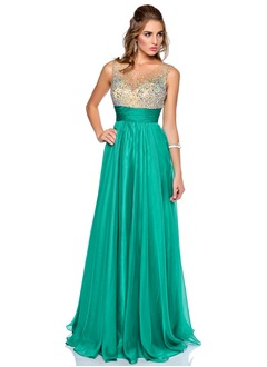 A-Line/Princess Scoop Neck Floor-Length 30D Chiffon Evening Dress With Beading