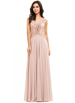 Sheath/Column V-neck Floor-Length Chiffon Lace Prom Dress With Beading Appliques Lace