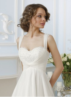 Empire Sweetheart Sweep Train Tulle Wedding Dress With Beading