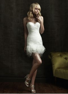 Sheath/Column Strapless Sweetheart Short/Mini Organza Satin Wedding Dress With Ruffle Beading Feather Flower(s)