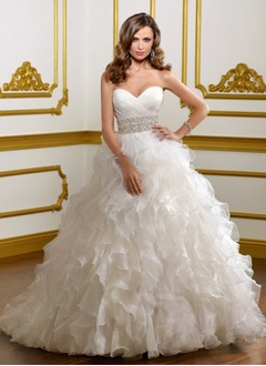 Ball-Gown Strapless Sweetheart Chapel Train Organza Satin Wedding Dress With Beading Cascading Ruffles