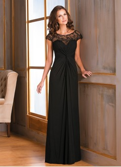 Sheath/Column Scoop Neck Floor-Length Chiffon Mother of the Bride Dress With Ruffle Lace