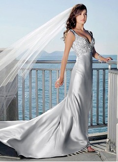 Sheath/Column V-neck Court Train Charmeuse Wedding Dress With Beading