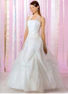 Ball-Gown Halter Floor-Length Tulle Quinceanera Dress With Ruffle Lace Beading