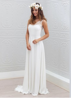 A-Line/Princess V-neck Sweep Train Chiffon Wedding Dress With  ...