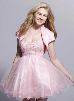 A-Line/Princess Strapless Sweetheart Short/Mini Satin Tulle Homecoming Dress With Beading
