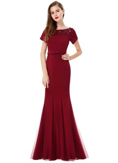 Trumpet/Mermaid Scoop Neck Floor-Length Charmeuse Prom Dress With Beading