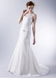 Trumpet/Mermaid Scoop Neck Sweep Train Charmeuse Lace Wedding Dress With Ruffle