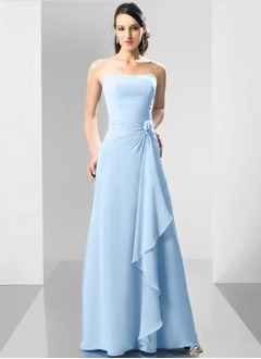 A-Line/Princess Strapless Floor-Length Chiffon Bridesmaid Dress With Flower(s) Cascading Ruffles