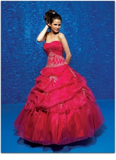 Ball-Gown Strapless Sweetheart Floor-Length Organza Quinceanera Dress With Embroidered Ruffle Lace Beading Sequins