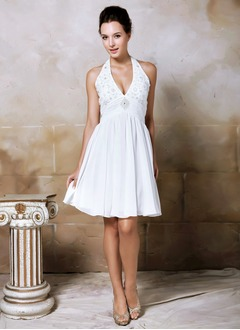 A-Line/Princess Halter Knee-Length Chiffon Wedding Dress With Ruffle Beading
