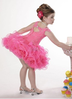 A-Line/Princess Scoop Neck Short/Mini Organza Satin Flower Girl Dress With Beading (01005009152)