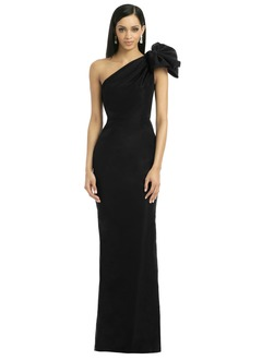 Trumpet/Mermaid One-Shoulder Floor-Length Satin Evening Dress With Ruffle Flower(s)