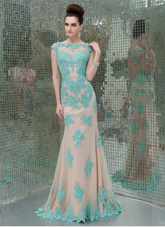 Trumpet/Mermaid Scoop Neck Sweep Train Tulle Evening Dress With Beading Appliques Lace