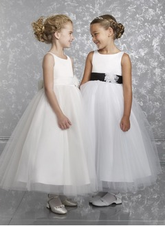 A-Line/Princess Scoop Neck Ankle-Length Satin Tulle Flower Girl Dress With Sash Flower(s) Bow(s)