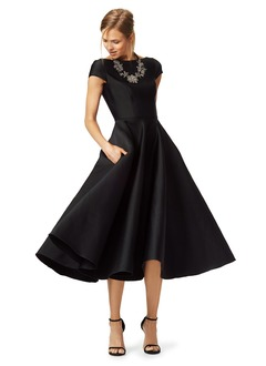 A-Line/Princess Scoop Neck Tea-Length Satin Cocktail Dress (0165092014)