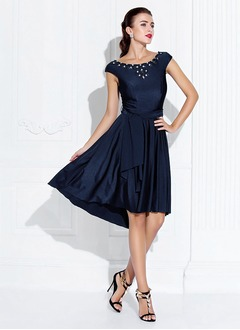 A-Line/Princess Scoop Neck Asymmetrical Charmeuse Cocktail Dress With Ruffle Beading