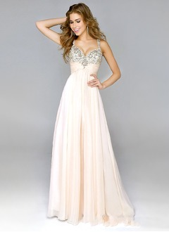 A-Line/Princess Sweetheart Floor-Length Chiffon Prom Dress With Ruffle Beading Sequins (0185055828)