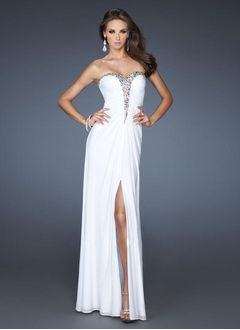 A-Line/Princess Strapless Sweetheart Floor-Length Chiffon Evening Dress With Ruffle Beading Split Front