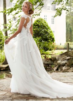 A-Line/Princess V-neck Court Train Tulle Lace Wedding Dress With Lace Beading (0025119758)