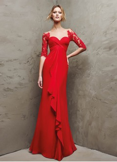 Sheath/Column Sweetheart Floor-Length Chiffon Evening Dress With Ruffle Lace