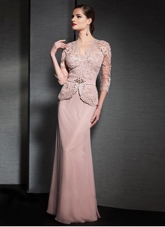 Sheath/Column V-neck Floor-Length Chiffon Mother of the Bride Dress With Beading Appliques Lace