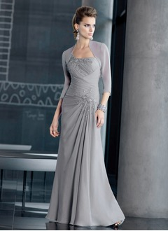 A-Line/Princess One-Shoulder Floor-Length Chiffon Mother of the Bride Dress With Beading Appliques Lace
