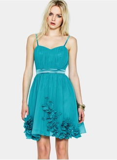 A-Line/Princess Sweetheart Short/Mini Chiffon Charmeuse Prom Dress With Ruffle Flower(s)