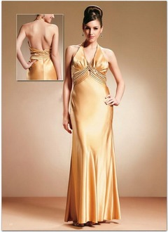 Sheath/Column Halter Floor-Length Charmeuse Mother of the Bride Dress With Ruffle Beading