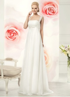Empire Sweep Train Tulle Wedding Dress With Ruffle Beading Appliques Lace Bow(s)