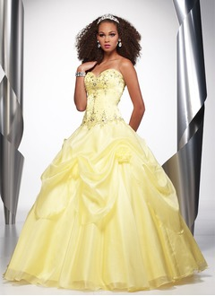Ball-Gown Strapless Sweetheart Floor-Length Organza Satin Quinceanera Dress With Ruffle Lace Beading Flower(s)