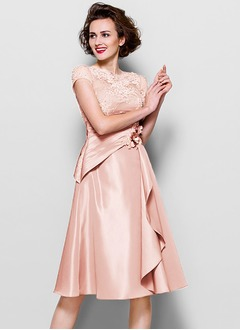 A-Line/Princess V-neck Knee-Length Charmeuse Mother of the Bride Dress With Embroidered Ruffle