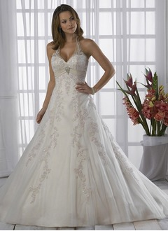 A-Line/Princess Halter Chapel Train Satin Tulle Wedding Dress With Ruffle Lace Beading