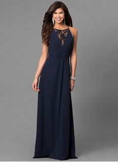 A-Line/Princess Halter Scoop Neck Floor-Length Chiffon Prom Dress With Ruffle Lace