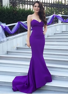 Trumpet/Mermaid Strapless Sweetheart Sweep Train Satin Prom Dress