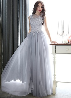 A-Line/Princess Scoop Neck Floor-Length Tulle Evening Dress With Beading Appliques Lace