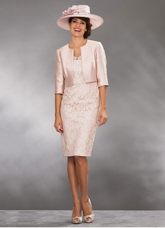 Sheath/Column Scoop Neck Knee-Length Satin Lace Mother of the Bride Dress With Lace