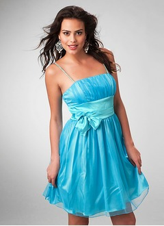 A-Line/Princess Short/Mini Taffeta Organza Homecoming Dress With Ruffle
