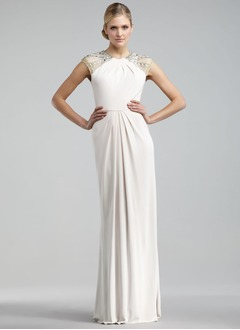 Sheath/Column Scoop Neck Floor-Length Jersey Evening Dress With Ruffle Beading