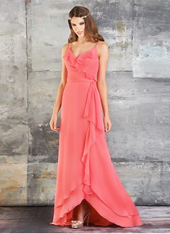 A-Line/Princess V-neck Asymmetrical Chiffon Prom Dress With Cascading Ruffles