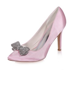 Women's Satin Stiletto Heel Closed Toe Pumps With Bowknot  ...