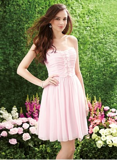A-Line/Princess Strapless Sweetheart Short/Mini Chiffon Bridesmaid Dress With Ruffle
